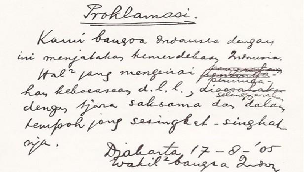 Teks proklamasi asli tulisan tangan Ir. Soekarno