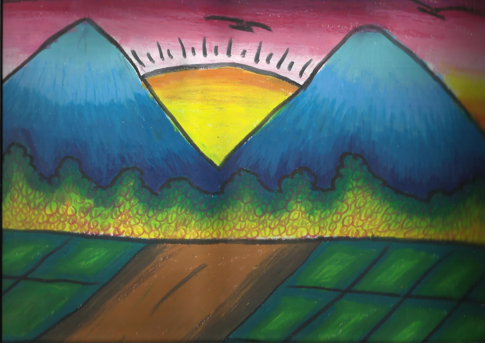 Gambar Sketsa Warna Pemandangan